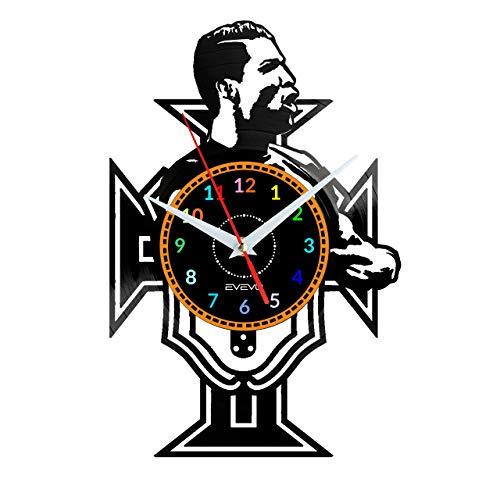 EVEVO Cristiano Ronaldo Wanduhr Vinyl Schallplatte Retro-Uhr groß Uhren Style Raum Home Dekorationen Tolles Geschenk Wanduhr Cristiano Ronaldo