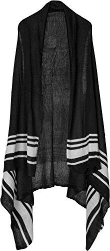 styleBREAKER ärmellose Weste mit Streifen, Poncho Cape, ohne Verschluss, Damen 08010046, Farbe:Schwarz/Weiß