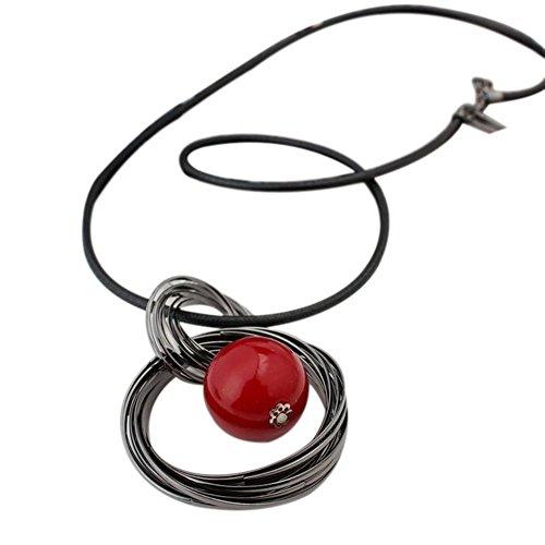 Hosaire Collar de Plata Mujer Joyas de Las Mujeres Joyería Regalo para Mujer Moda Collar de Clavícula Collar de Boda Ajustable Cuentas Rojas Size 70CM+5CM