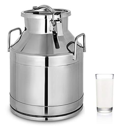 VEVOR Milchkanne 20 L Milchkanne Edelstahl 6,11 kg Edelstahl Milchkanne Auslaufsicherer Deckel mit Spannverschluss zum Transportieren oder zur Aufbewahrung