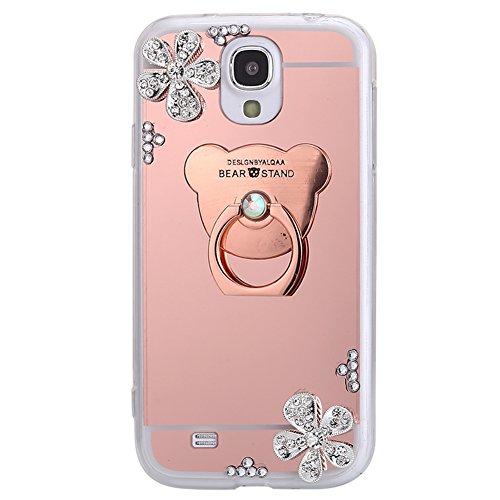 Jinghuash Compatible avec Samsung Galaxy S4 Coque Miroir Luxe Housse Etui Paillette Brillante Strass Fleur avec Ours 360 Rotation Bague Support Ultra Mince TPU Silicone Miroir Case-Or Rose