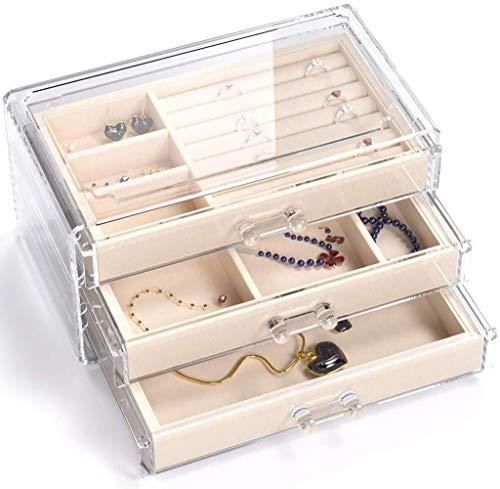 LHY HOME Joyeros Organizador con 3 Cajones Acrílico Organizador De Joyas Caja De Joyería Terciopelo para Anillos, Collar, Pendientes-Organizador Cosmético(23.5x13.5x10.5cm),Beige
