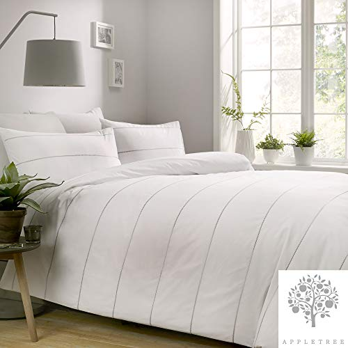 Appletree Salcombe - Juego de Funda de edredón Bordado, 100% algodón, Blanco, Matrimonio Grande