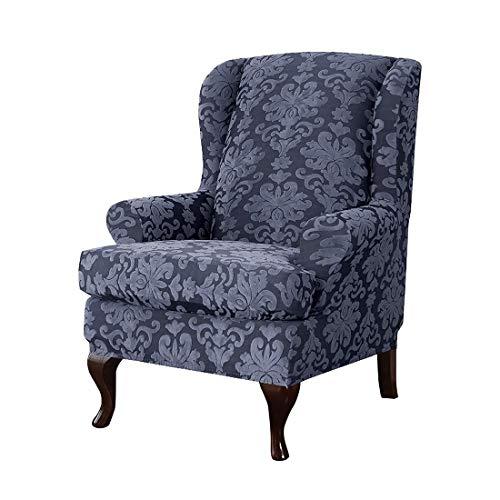 Nati Sesselbezug Elastisch Ohrensessel Husse Bezug Muster Blumen Schutzbezug für Relaxsessel Fernsehsessel Liege Sessel Dekorative Sofabezug Navy Blau