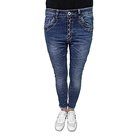 Jewelly by Lexxury Baggy Boyfriend Damen Stretch Hose Knopfleiste