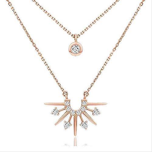 huangshuhua Collar Mujer Collar Elegante Collar Estilo Doble Amanecer Collar Ajustable Collar con Micro- Set