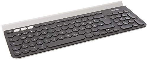Logitech K780 Tastiera Wireless, Layout Tedesco Qwertz, Grigio (Scuro)/Bianco