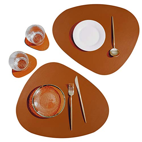SUBEKYU Faux Leather Placemats and Coasters Set, Washable Round Table Mat, Waterproof Coffee Mats, Heat-Resistant Place Mat for Kitchen Dining Table (Brown)
