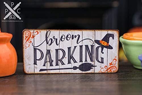 Ced454sy gemaakt om te bestellen houten bord bezem Parking teken hout geschenk Halloween teken Halloween miniaturen