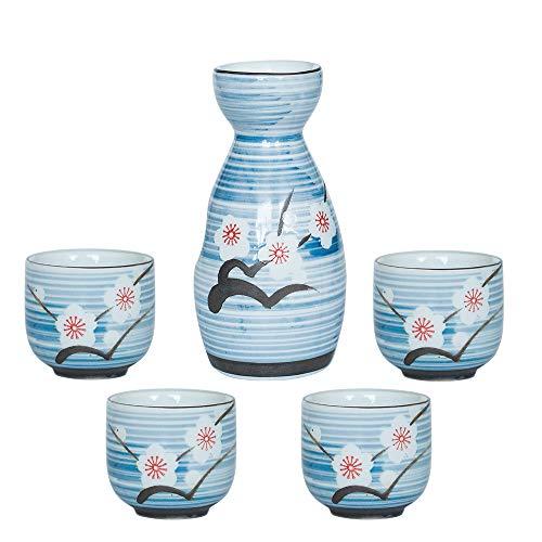 Sake 5-delige set, duurzame Japanse sake keramische set, handgeschilderde pruimenbloesem sake pot, een pot met vier kopjes, het beste cadeau voor familie en vrienden