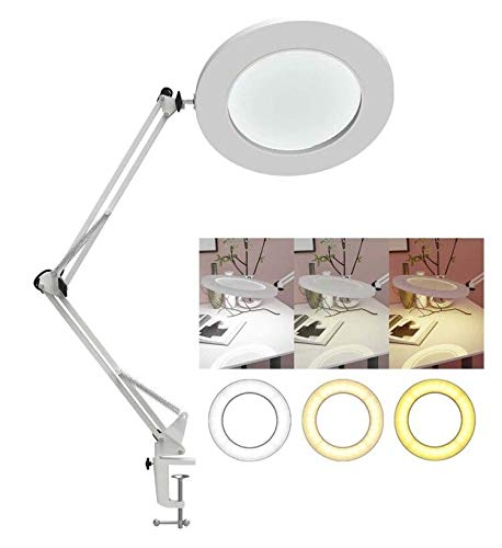 YOUKOYI Lámpara LED de Aumento de 5X Lámpara de Escritorio de Metal con Brazo Oscilante Regulación Escalonada de 3 Modos de Color