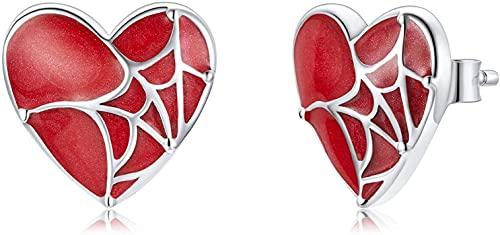 X&Z-XAOY Pendientes De Botón De Moda para Mujer, Hipoalergénico S925, Plata, Tela De Araña, Joyería con Piercings con Empuje hacia Atrás, Rojo