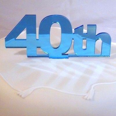 ServeWell Decorazione per torta per 40° compleanno, Acrilico, Mirrored Blue, Standard