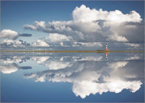Posterlounge Leinwandbild 90 x 70 cm: Westerheversand im Spiegel von Carsten Meyerdierks - fertiges Wandbild, Bild auf Keilrahmen, Fertigbild auf echter Leinwand, Leinwanddruck
