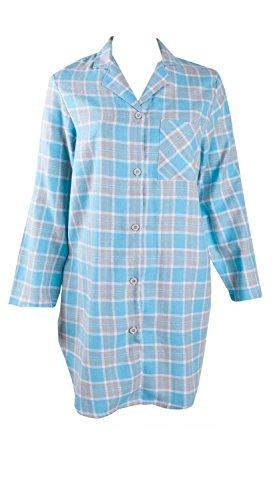 AdoniaMode Damen Nacht-Hemd Langarm Nachtkleid Sleepshirt Bigshirt Nachtwäsche nightware V-Ausschnitt Knopfleiste Flanell Winter-warm, Gr. 36/38 Kariert Blau Gr.36/38