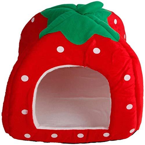 Winne Pet Waterloo-Cálido jaula para mascotas-Cama para perro y gato - Saco de dormir plegable para mascotas - Bonita forma de fresa - rojo