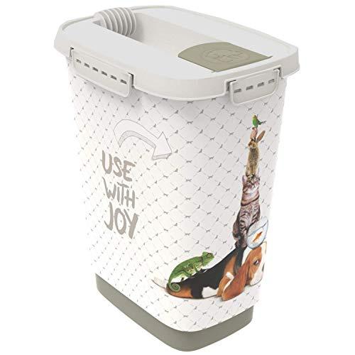 Rotho Cody Tierfutterbehälter 10l mit Deckel und Klappe für praktisches Dosieren, Kunststoff (PP) BPA-frei, anthrazit/weiss, 10l (24,3 x 17,9 x 32,2 cm)