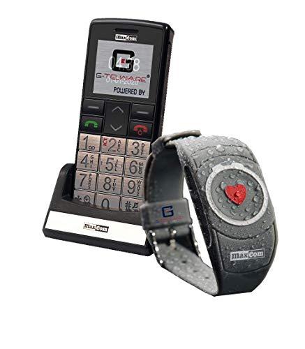 SENIORENHANDY (Firmware 2021!) mit Notrufarmband Powered by G-TELWARE® Handy, mit FUNKARMBAND, DEUTSCHES MENÜ/Anleitung UND ANSAGEN in DEUTSCH!