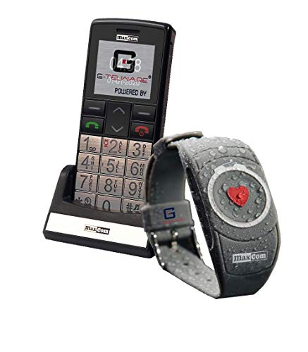 SENIORENHANDY (Firmware 2020!) mit Notrufarmband Powered by G-TELWARE® Handy, mit FUNKARMBAND, DEUTSCHES MENÜ/Anleitung UND ANSAGEN in DEUTSCH!