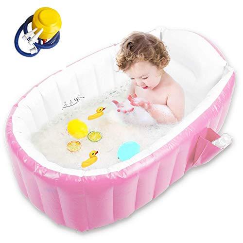 Reductor para Plato de Ducha, bañera de viaje antideslizante, mini piscina de aire para niños, lavabo de ducha plegable grueso con bomba de aire, bañera de viaje portátil para niña con asiento, Pink