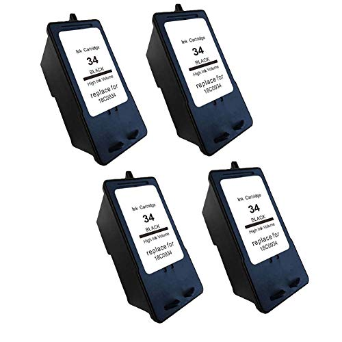 Karl Aiken - Cartucho de tinta para impresora Lexmark X2500 X2530 X2550 X3330 X3350 X3530 X3530 X3550 (4 negro)
