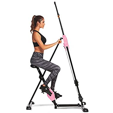 Anfan Vertical Climber Folding Exercise Climbing Machine, Exercise Equipment Climber for Home Gym,Exercise Bike for Home Body Trainer(US Stock) (Pink)