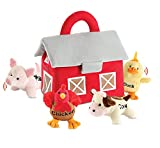 Bundaloo Plush Farm Animal Toys with Sounds - Plushie Play Set with Cute Talking Barn Animals in a Barn Carrier