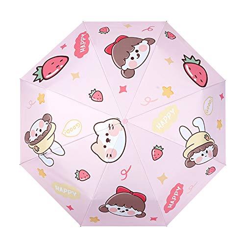Zhandou Dibujos animados lindo estudiante completo automático de tres pliegues 50 paraguas lluvia o brillo de doble uso anti-ultravioleta paraguas fresa chica