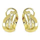 Pendientes de Bandas Mujer Oro Amarillo 18 Kt / 750 Mls Carré Circonitas Blancas 13x8 Mm Cierre Omega