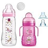 MAM Smart-Set Girls a partir de 4 meses // Baby Bottle Easy Active biberón 330 ml con tetina tamaño 2 & MAM Trainer con tetina tamaño 4 antigoteo y boquilla suave