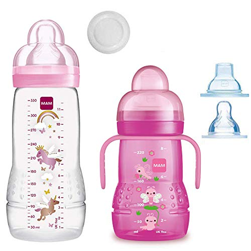 MAM Smart-Set Girls ab 4 Monate // Baby Bottle Easy Active Babyflasche 330 ml mit Sauger Gr.2 & MAM Trainer mit Sauger Gr.4 Tropffrei & Soft-Trinkschnabel