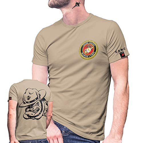 USMC Dog Shirt Einheit USA Marine Corps US United States T-Shirt#29081, Größe:M, Farbe:Sand