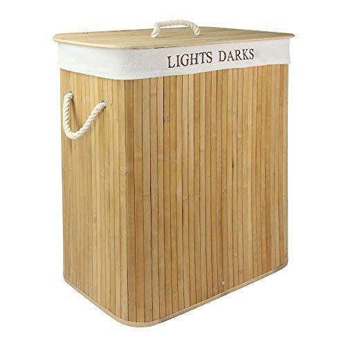 Light & Dark Bamboo Hamper | 102L Folding Wash Bag | Removable & Washable Cloth Lining | Washing Storage Basket | Foldable Laundry Bin | M&W