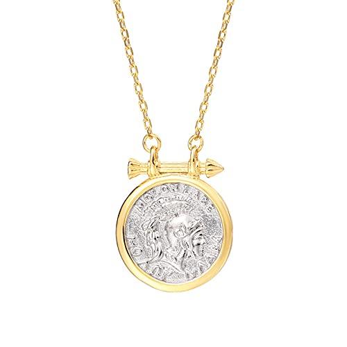 S925 Plata Esterlina Caballero Guerrero Del Imperio Romano Collar De Monedas Redondas Mujer