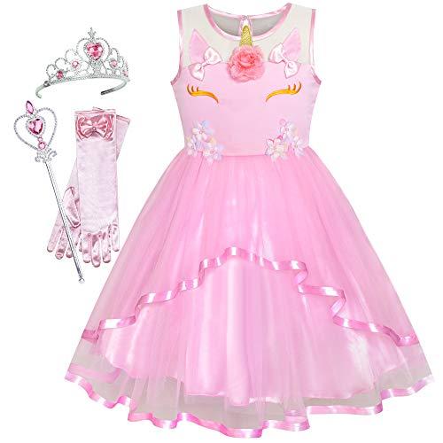 Sunny-fashion Mädchen Kleid, Einhorn-set in Rosa., 5 Jahre