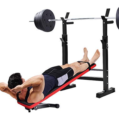Adjustable Weight Bench with Dumbbell Rack, Utility Barbell Lifting Press Exercise Folding Dumbbell Bench, Home G-ym Strength Training Flat Incline Decline Barbell Bench Sit Up Abs Benchs (Black)