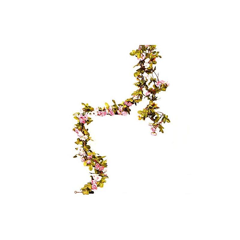 silk flower arrangements li hua cat artificial flower 60 heads rose vine garland artificial flowers plants for wedding home party garden craft art decor 2pcs (autumn-pink)