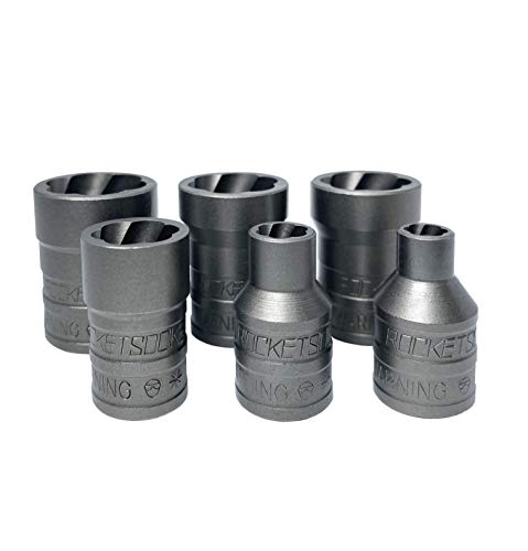 ROCKETSOCKET   Made in USA   Extraction Sockets   6 Individual Sockets, impact grade   Remove frozen, rusted, stripped, rounded-off nuts, bolts & screws   100% American Steel