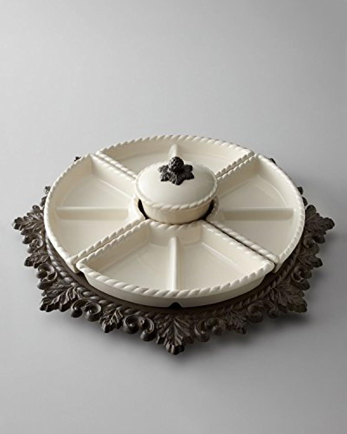 Ceramic Lazy Susan Crudite and Metal Base