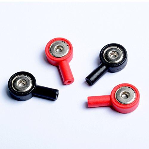 KONMED 4 Stück Adapter Snap 2 rote und 2 schwarze Elektrodenkabel Snap 3,9 mm Steckloch 2,0 mm