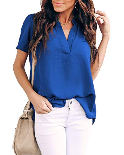 Allimy Women Summer Clothes V Neck Work Blouses Short Sleeve Loose Tunic Tops Plus Size Large Blue