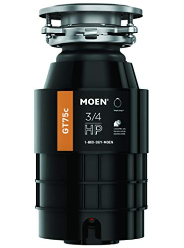 Moen GT75C Host Series 3/4 Horsepower Continuous Feed Garbage Disposal featuring Fast Track Technology, Power Cord Included