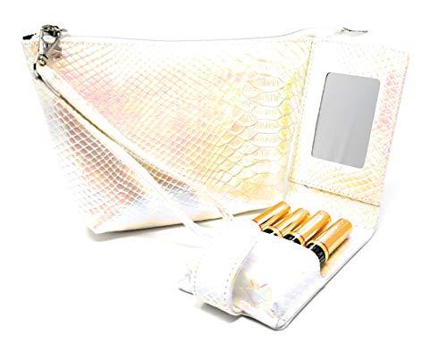 Lipsense Lipstick Wristlet & Pouch case Set Carrying Purse Clutch Detachable Travel Tester Bag for storage 16 Elastic Loops fits Lip sense gloss cosmetic Kylie Liquid Lipstick and Lip Gloss Tubes