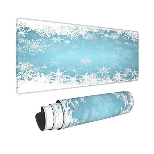 YOLIKA Extra Grande Alfombrilla de Ratón,XXL-90 x 40 x 0.3cm,Congelado Plata Nevado Navidad Copos de Nieve Azul Frío Invierno Cae Blanco Escarchado Diseño H,para el Trabajo Juego Computadora Portátil