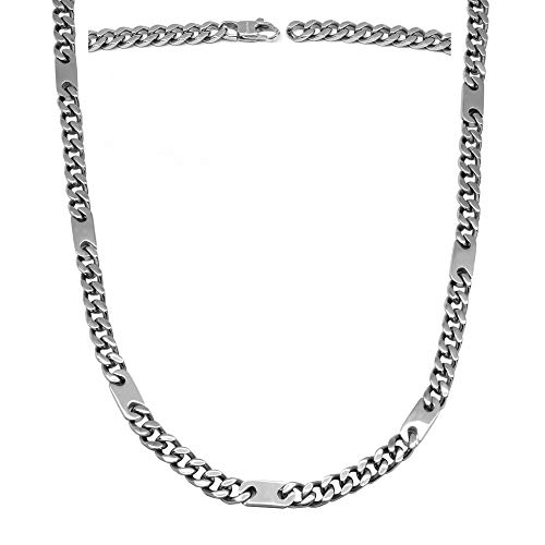 MagnetRX® Magnetic Therapy Necklace - Mens Magnetic Necklaces for Pain Relief and Healing - Silver Curb Chain Stainless Steel Necklace with Magnets (26 Inches)