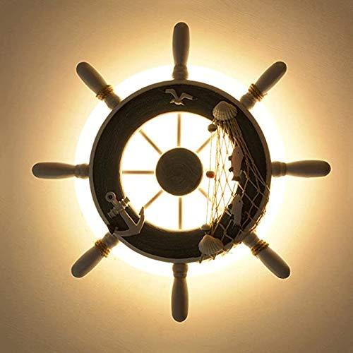 Kind Wall Wall Light LED Wheel Light Screen Houten Boot Rudder Bruiser koffie achtergrond Kinderen Kamer