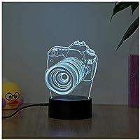 3Dイリュージョンナイトライト カメラ キッズベッドサイドランプ7色段階的に変化するタッチスイッチ3Dナイトライトキッズ目の錯覚ランプキッズランプギフトのアイデアとして女の子