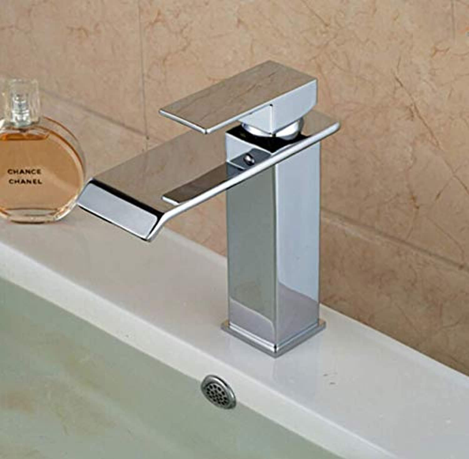 Deck Mounted Chrome Polished Finish Waterfall Bathroom Faucet Basin Mixer tap Hot and Cold Water