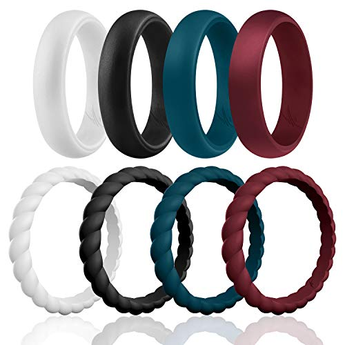 ROQ Silicone Wedding Ring For Women, Affordable Braided Stackable Silicone Rubber Wedding Bands - Medical Grade Silicone - Bordeaux, Navy Blue, White, Black Colors - Size 5