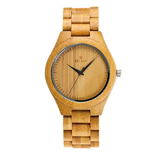 GLEMFOX Alle bamboe watches-Natural milieuvriendelijke houten klokken en Japanse kwarts-analoge uurwerken kwartshorloges voor mannen en vrouwen Small #3